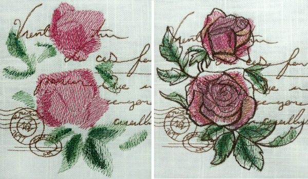 Subtle shading and fine details created with thread painting embroidery.