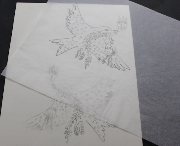 Bird stamp sketch on tracing paper
