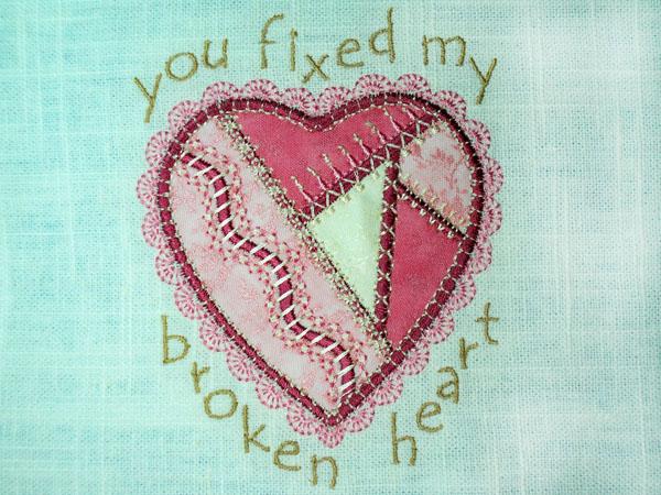 Crazy quilt: You Fixed My Broken Heart tutorial.