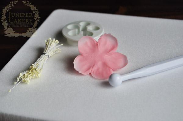 Pretty sugar cherry blossom tutorial by Juniper Cakery