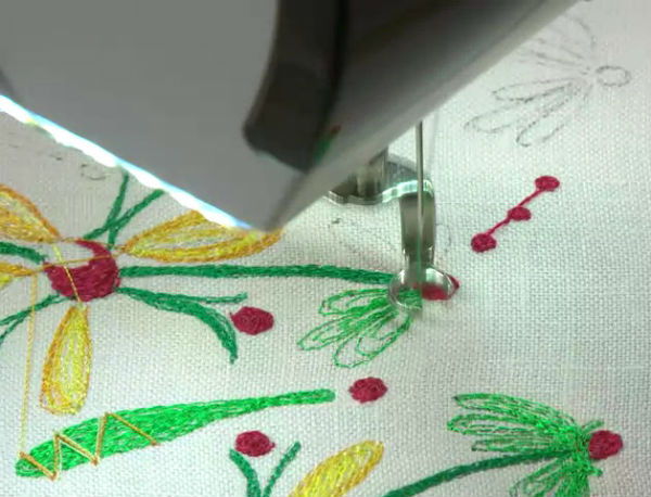 Thread painting closeup.