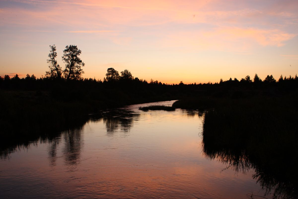 Sunset over a River in Oregon