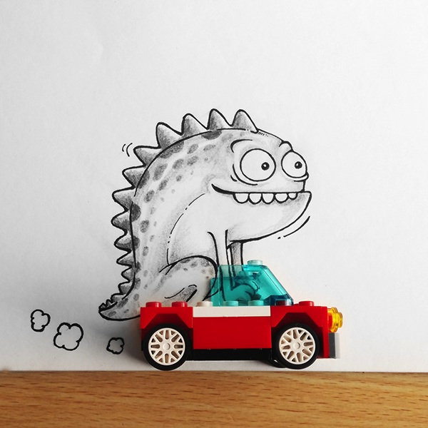 Race car monster drawing