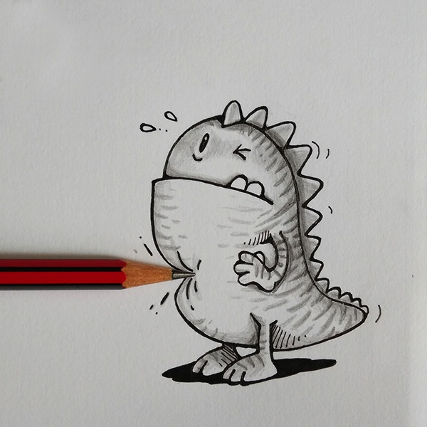 Pencil stabbing a monster