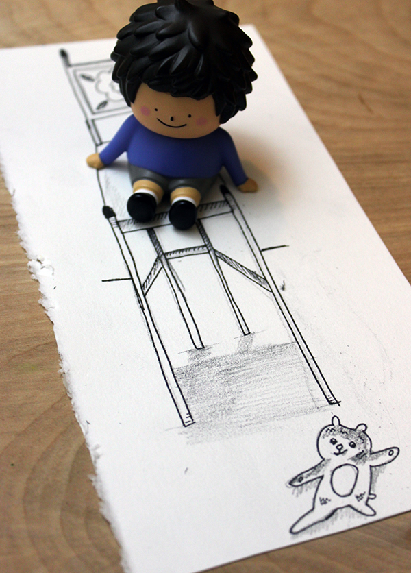 3d toy with drawing of a chair