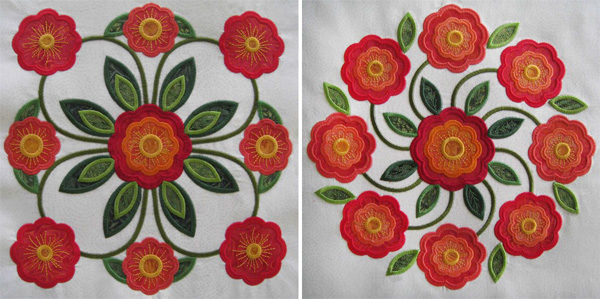 Traditions Rose of Sharon machine appliqué blocks.