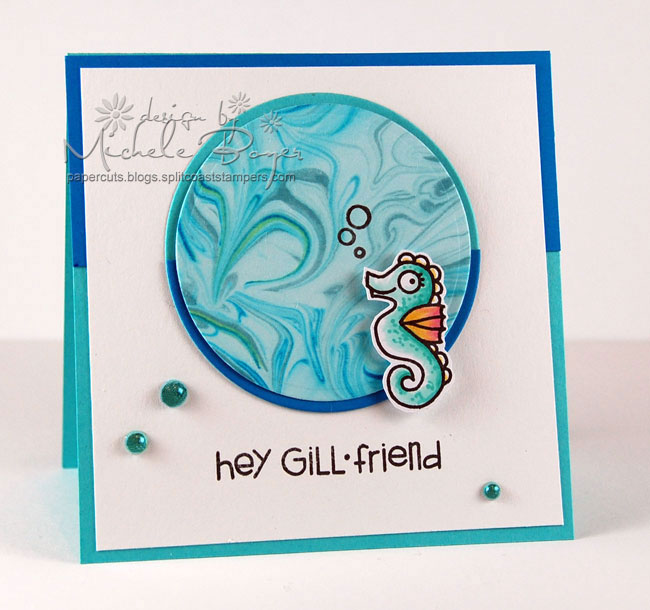 Finished seahorse card