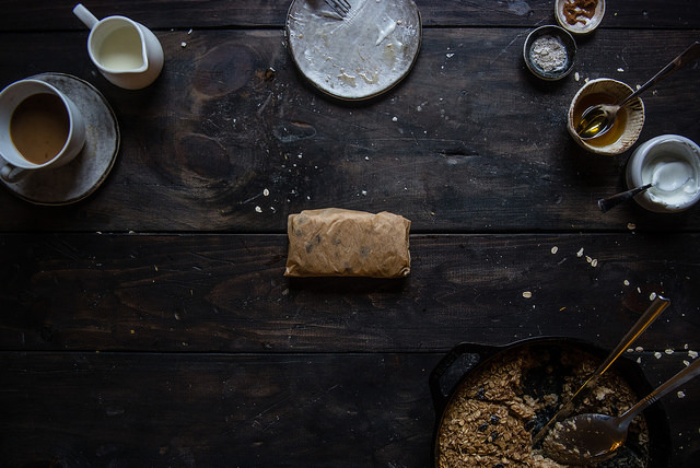 cinnamon raisin baked oatmeal wrapped in parchment