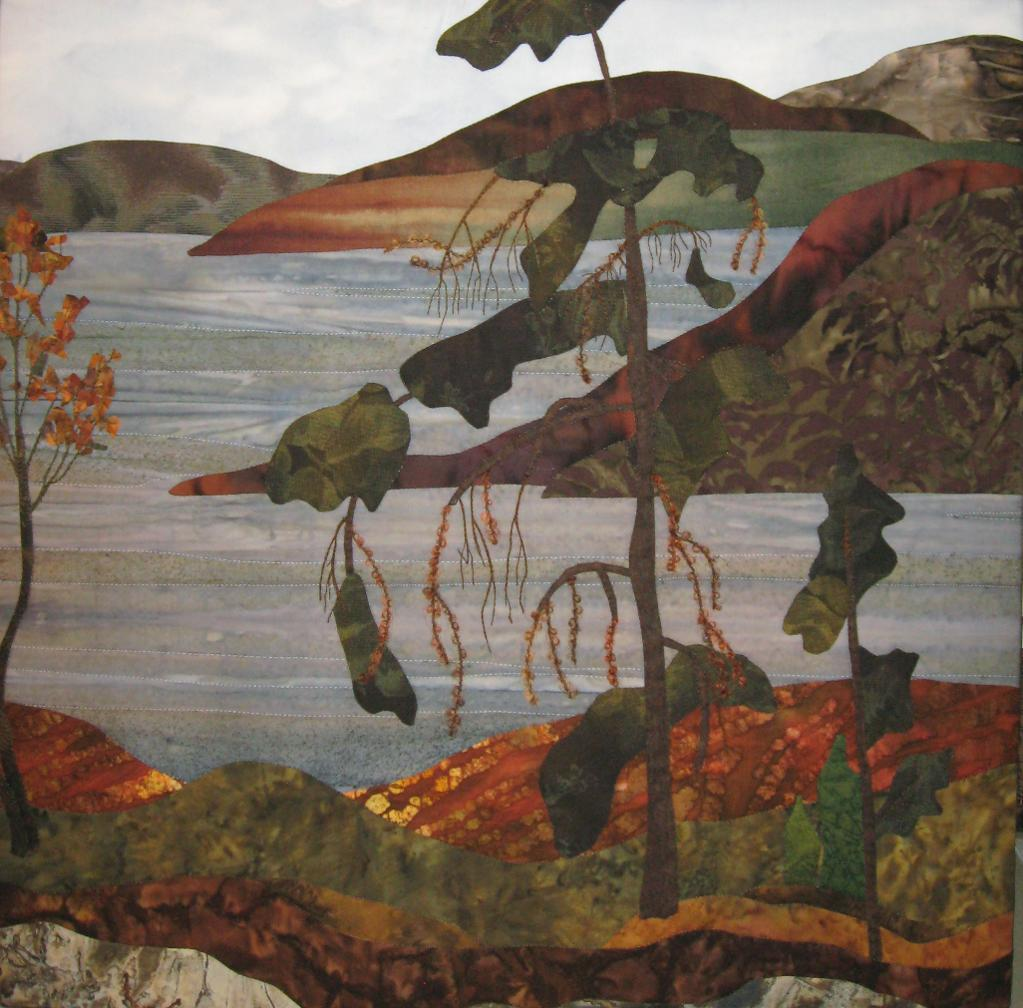 landscape quilt in fall colors