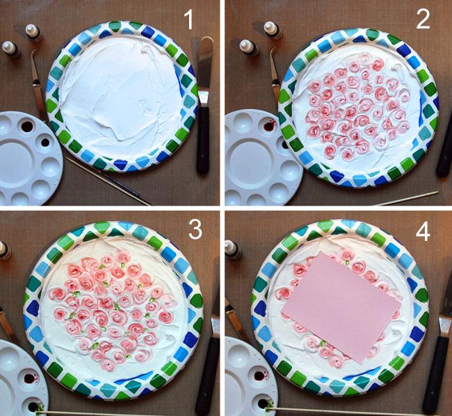 Steps 1-4 creating flowers in foam