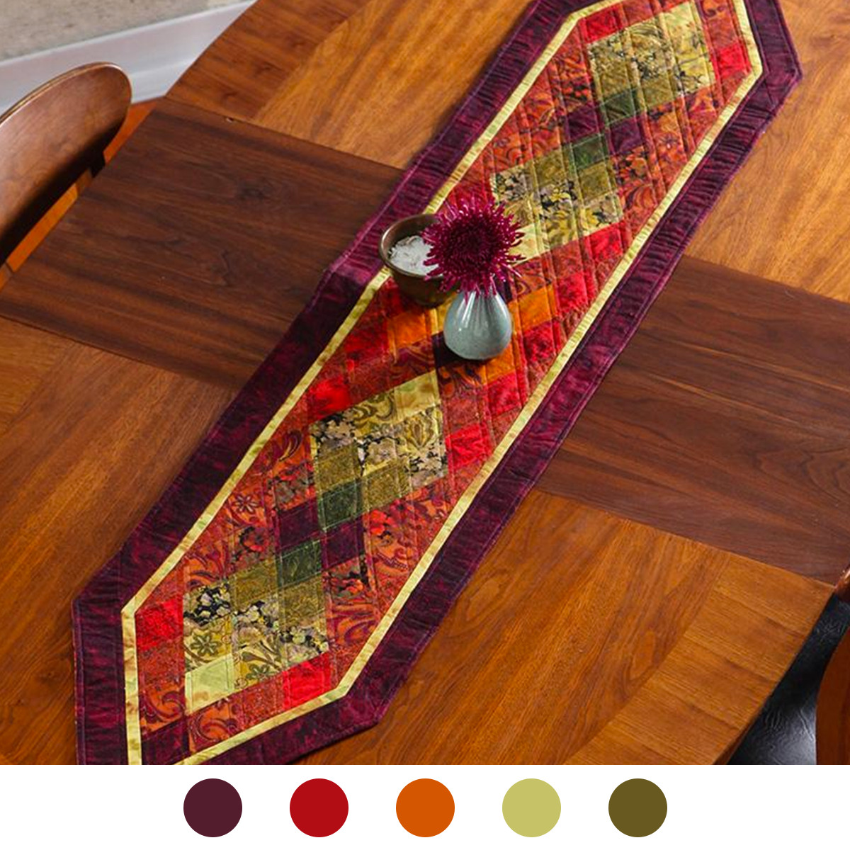 Rust Quilted Table Runner colors