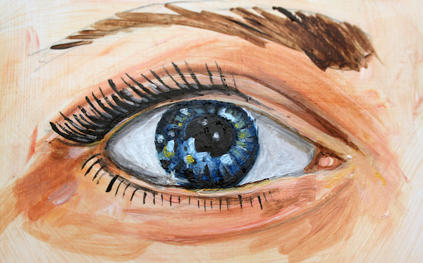 detail of a painted eye