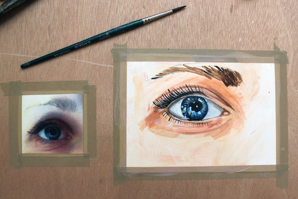 Completely painted eye