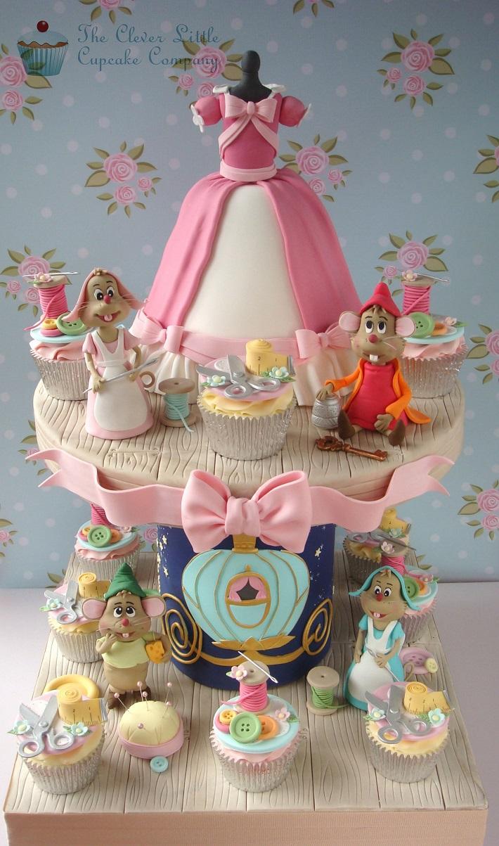 Cinderella cake and cupcake tower