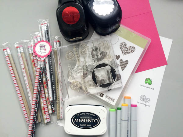 Supplies for DIY Valentine Pencil Packs