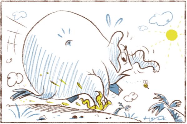 Elephant slipping on a banana peel