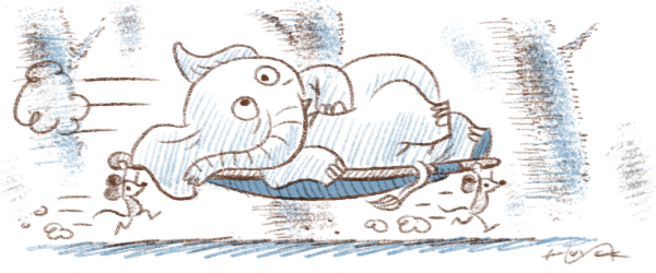 An elephant on a stretcher, carried by mice - action lines