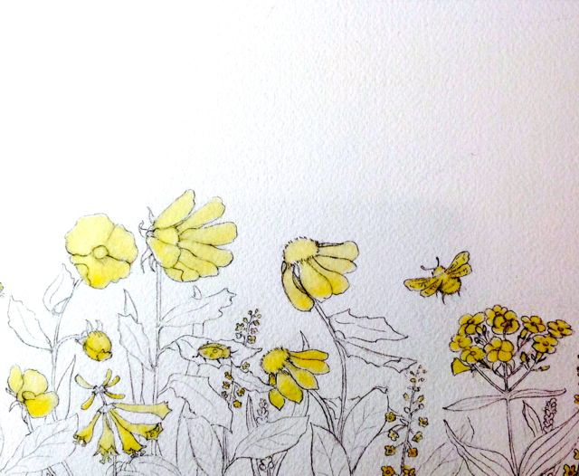masking fluid applied to flowers and insects