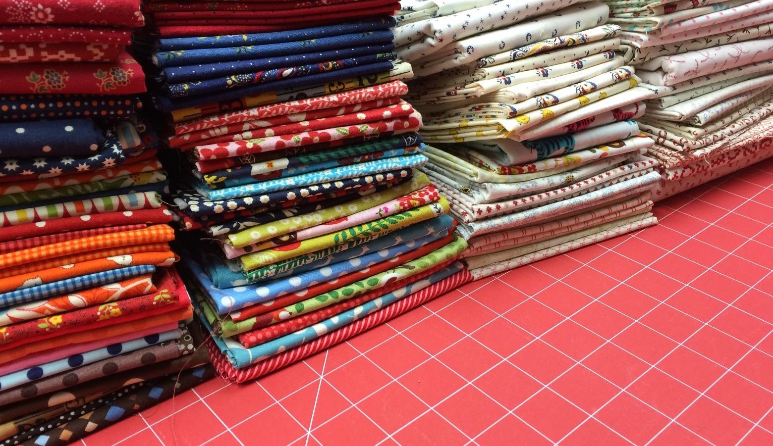 folded fabric scraps