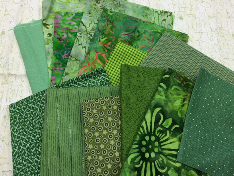 green fabric scraps