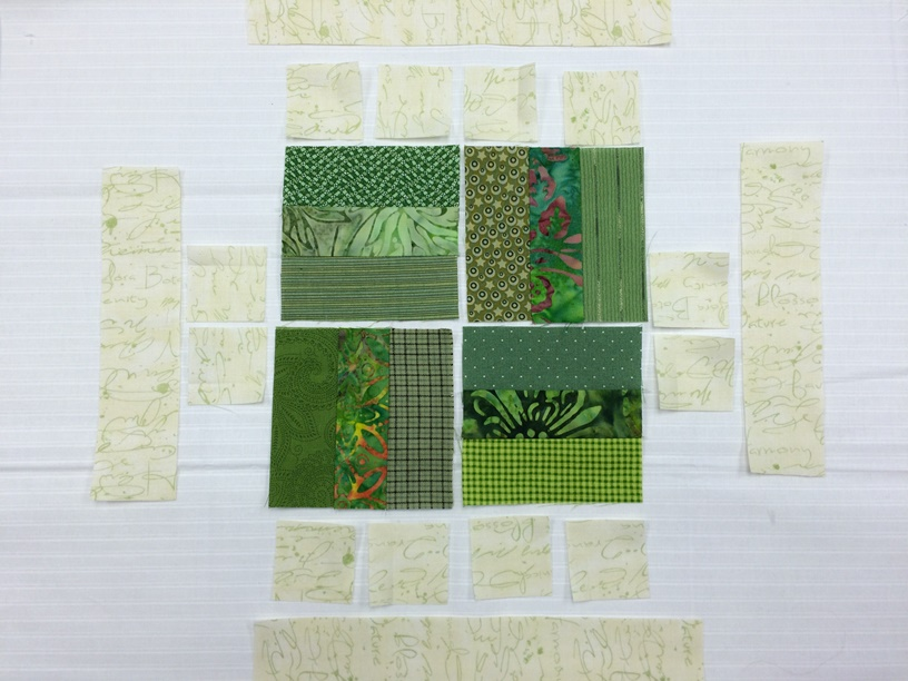 green strips sewn together