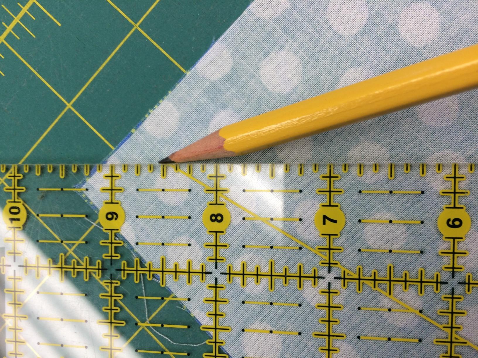 pencil marking on fabric