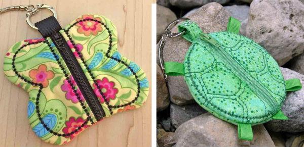 In the hoop zipper coin purses