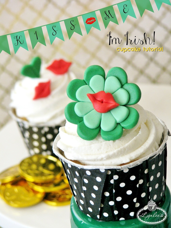Kiss Me I'm Irish St. Patrick's Day cupcake tutorial