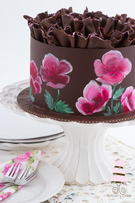 Painted chocolate cake