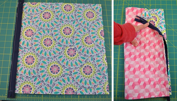 Stitch the zipper to the quilted fabric panel