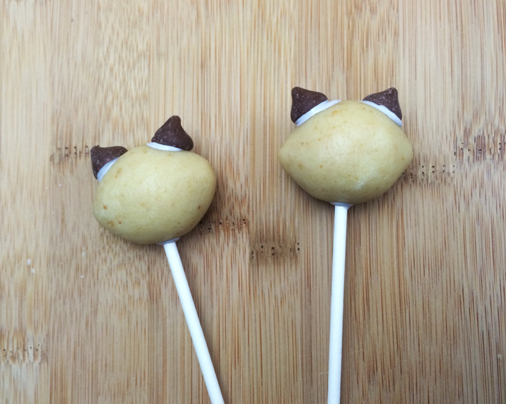 Add ears Raccoon Cake Pops