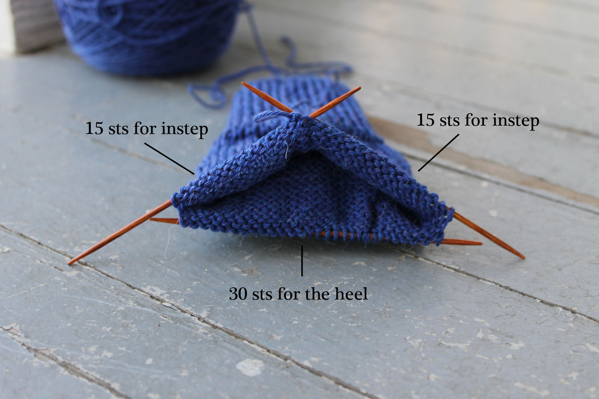 Setting up knitting needles for a sock heel