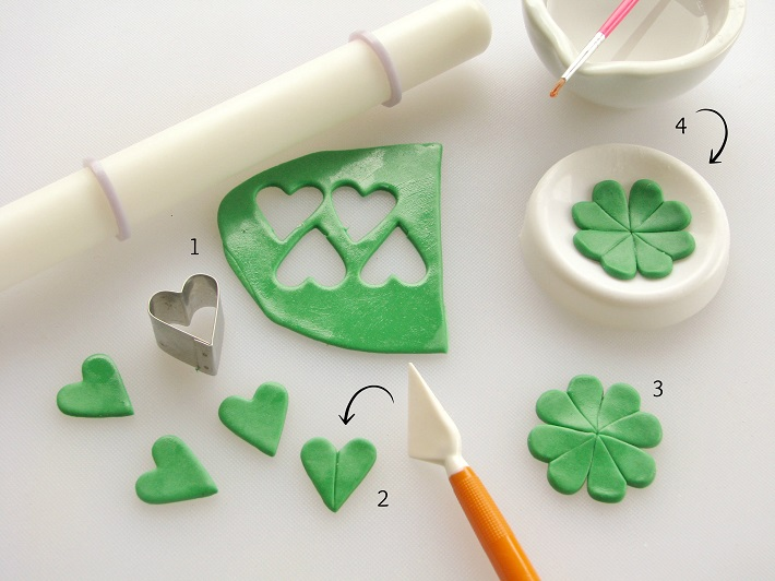 St. Patrick's Day topper fondant tutorial step 1