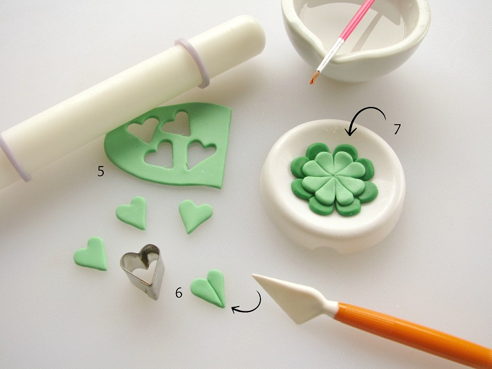 St. Patrick's Day topper fondant tutorial step 2