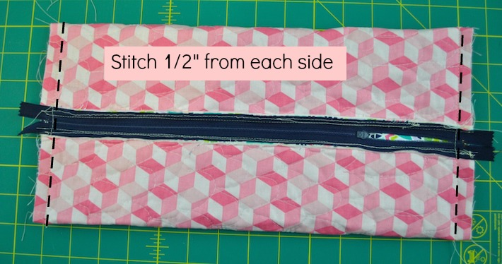 Stitch 1/2 from each side