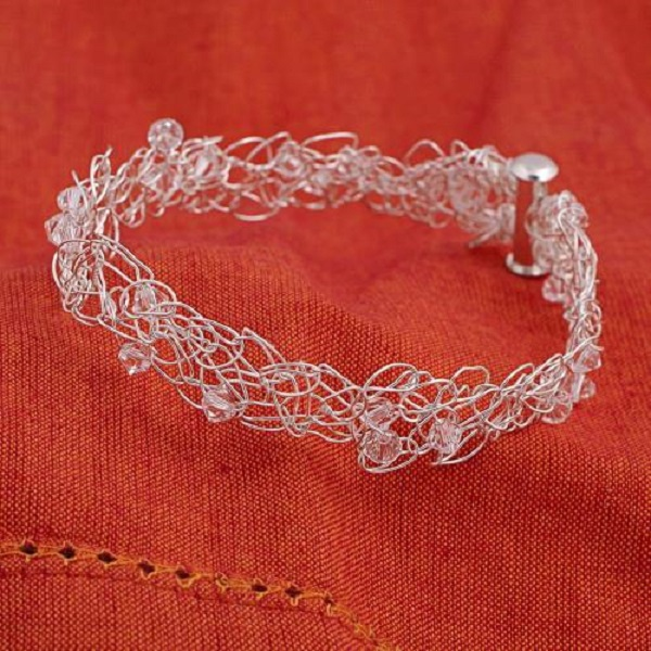 Swarovski Crystal Wire Crochet  Bracelet
