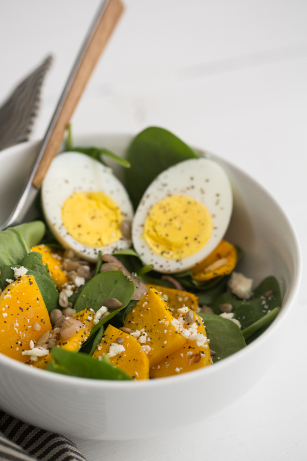 Roasted Squash and Hard Boiled Egg Spinach Salad