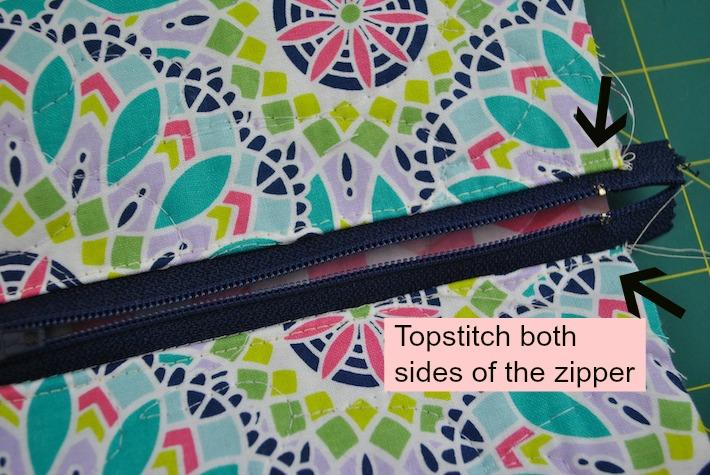 Topstitch zipper