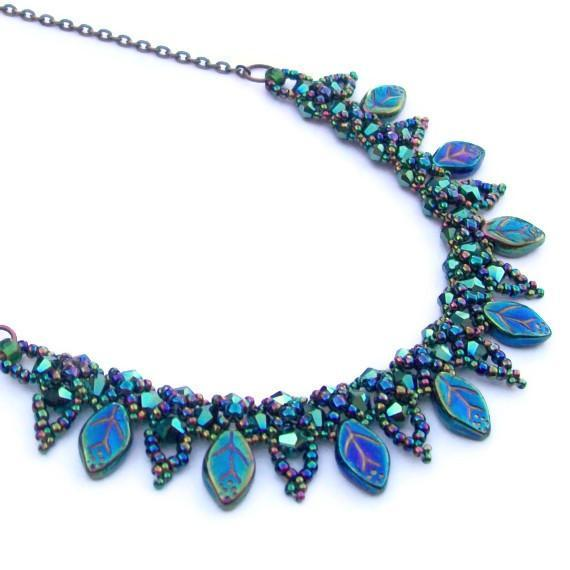beaded leaf collar necklace