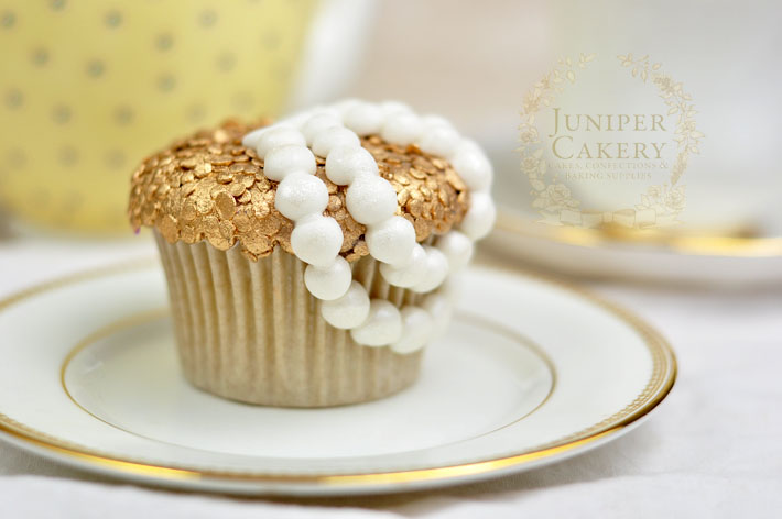 Couture gold sequin and pearl cupcake how-to tutorial