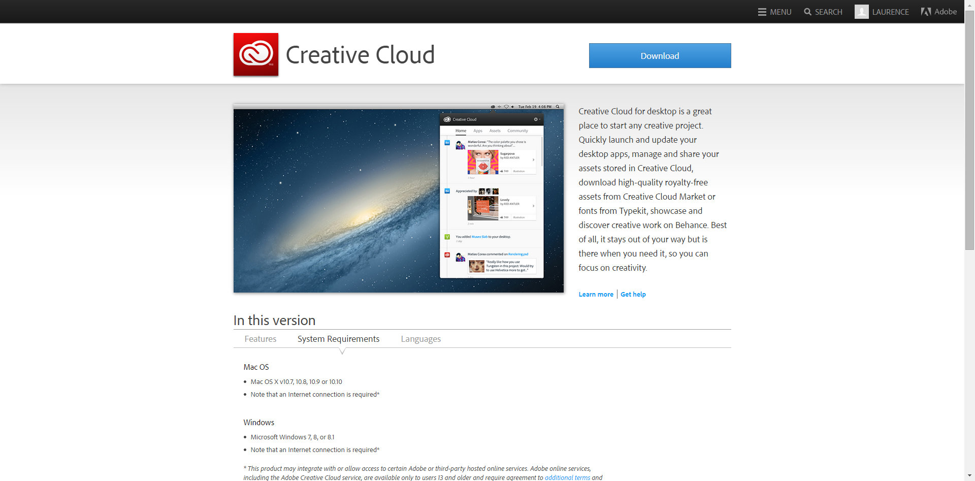 creative cloud app screenshot