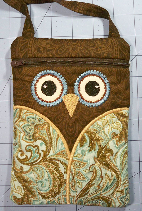 finished ITH owl purse