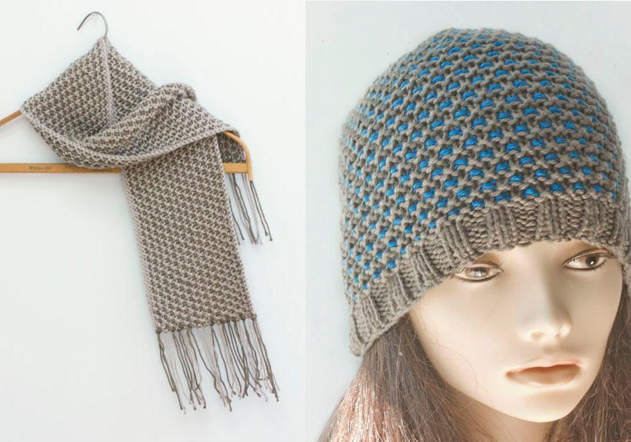 Mosaic Color Work Hat and Scarf