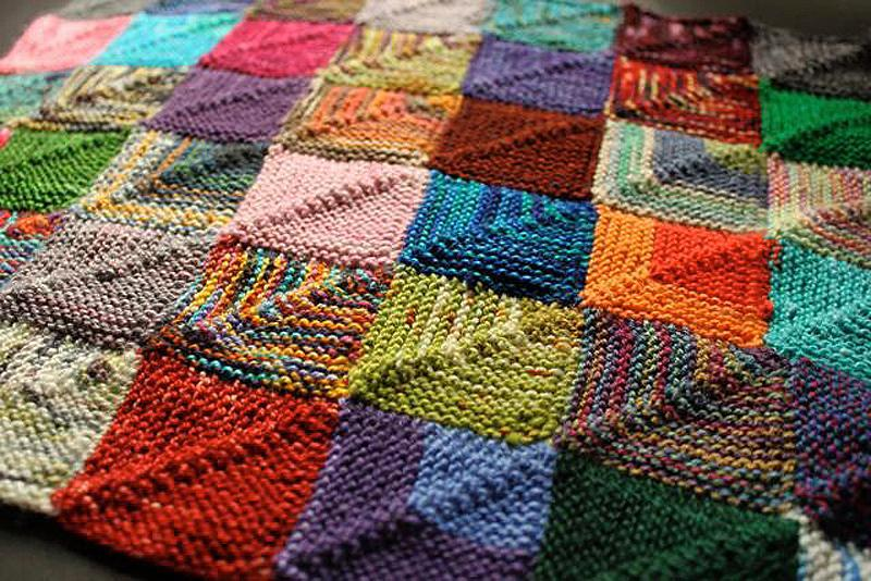 Knitted patchwork recipe blanket pattern