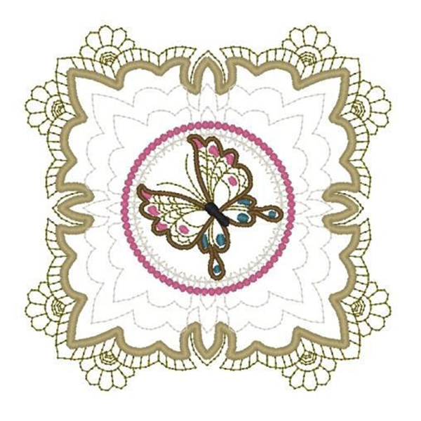 Machine Embroidery Butterfly 04 Quilt Block_2