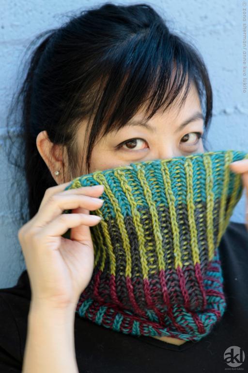 Anacortes Brioche knitted cowl
