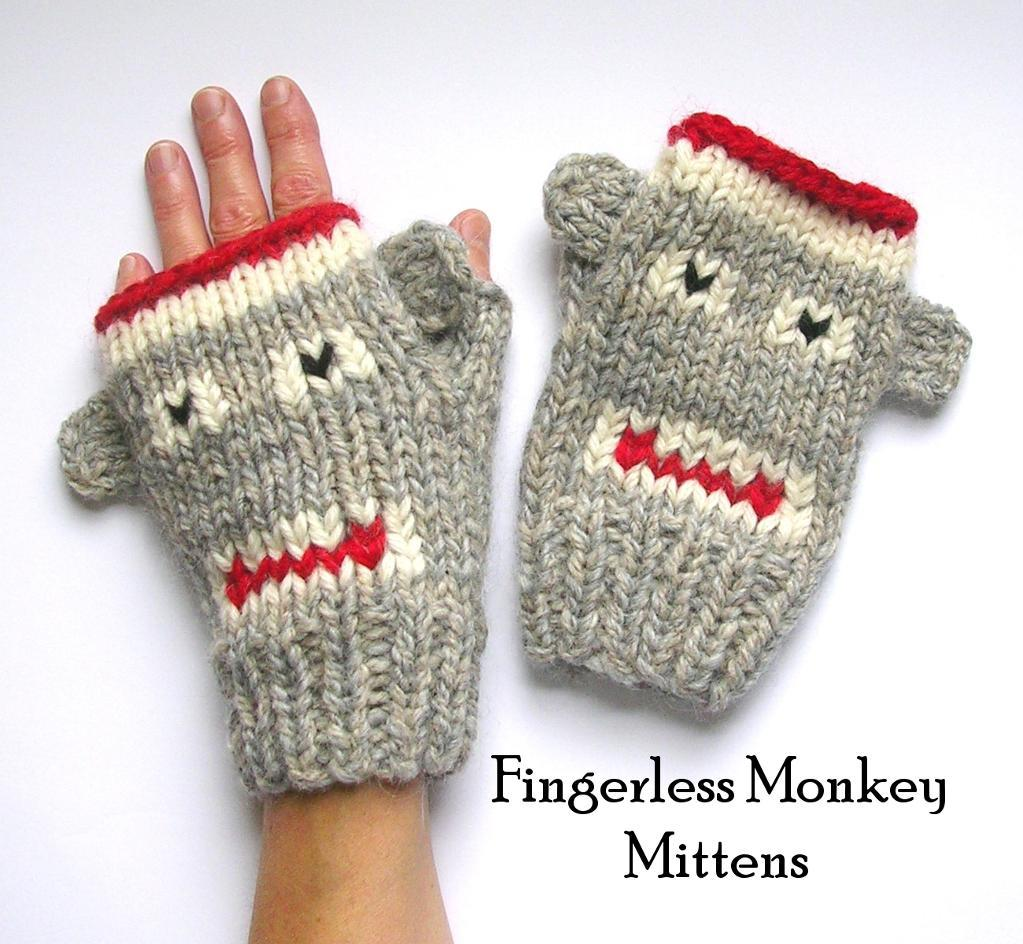 Fingerless Monkey Mittens knitting pattern