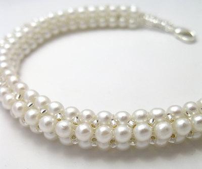 Herringbone Pearl Rope bracelet pattern