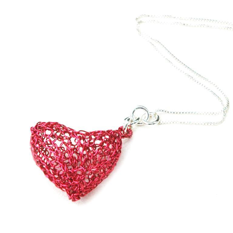 Wire Crochet Volume Heart Pendant tutorial