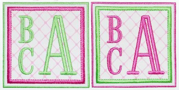 Simple Block Monograms Machine Embroidery